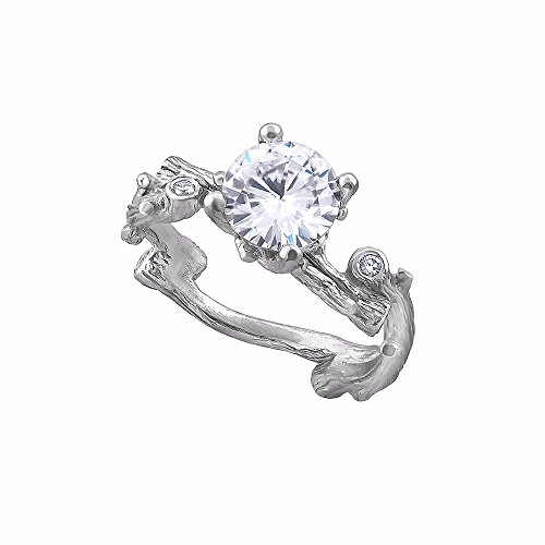 14K White Gold Tree Branch Non Traditional Forever One Moissanite Diamond Engagement Ring