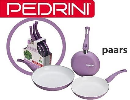 Pedrini ceramica 3 sartenes de púrpura