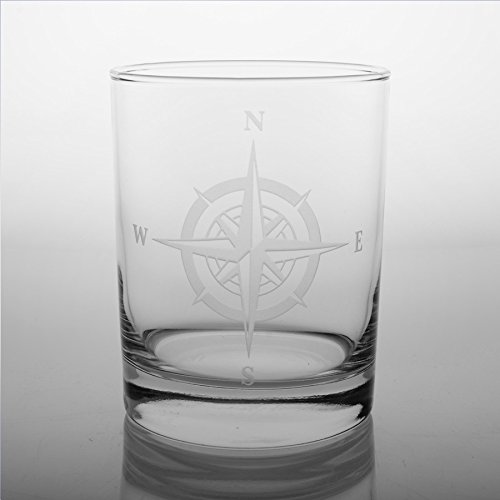 Compass Rose Double Old Fashioned Glass (Set of 4)