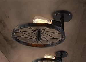 PinWei_ Industrial vintage Cafe features Windows bar iron wheel ceiling lamp (300mm) , black _PinWei