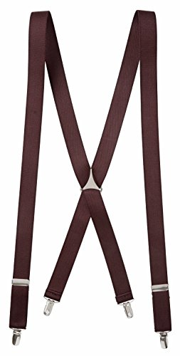 Free Men's Elastic X-back Adjustable Clip On Solid Suspenders - 46 and 54 Inch