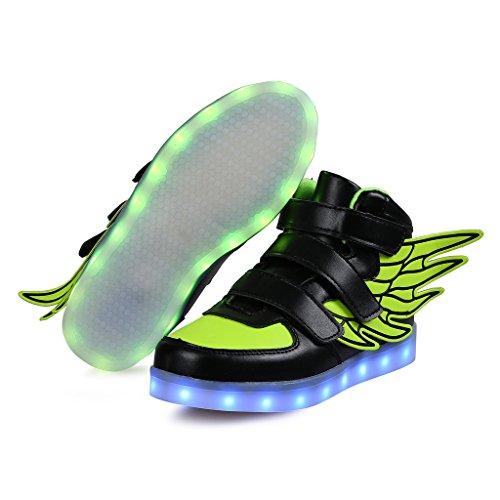 SAGUARO® Unisex niños USB Carga LED Luz Luminosas Flash Zapatos Zapatillas de Deporte para Los Reyes Magos Negro 5