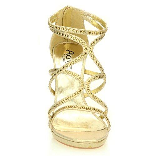 Mujer Señoras Noche Casual Boda Party Alto tacón Stiletto Diamante Peep Toe Nupcial Sandalia Zapatos tamaño (Oro, Plata, Negro) Oro