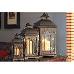 Set of 3 Metal Candle Lanterns - Bronze