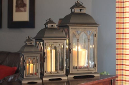 Set of 3 Metal Candle Lanterns - Bronze by Pebble Lane Living