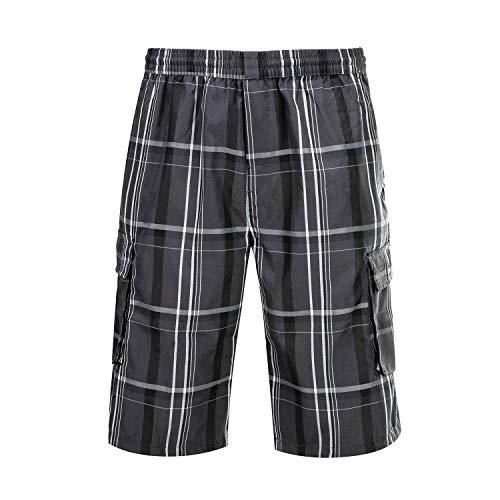 DRSLPAR Mens Plaid Cargo Shorts Big and Tall Lounge Shorts Elastic Waist with Pockets Grey White 1430-XXL