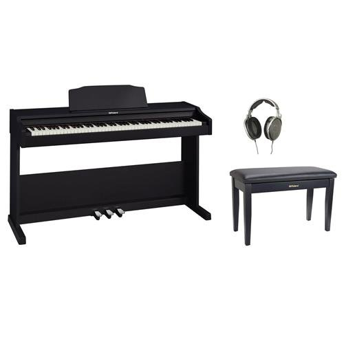 Roland RP-102 88 Key Digital Piano, Black with Duet Piano Bench and Sennheiser HD650