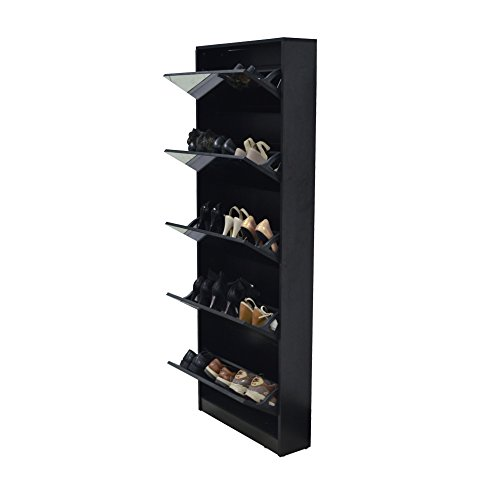 Organizedlife Black Mirror Shoe Cabinet Living Room Shoe