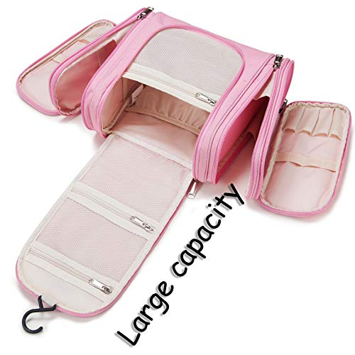 Premium Large Hanging Travel Toiletry Bag for Men and Women | Makeup Bag | Cosmetic Bag | Bathroom and Shower Organizer Kit | Leak Proof | TSA Friendly | Family, Gym, Camping, Business Trip etc.(Pink)