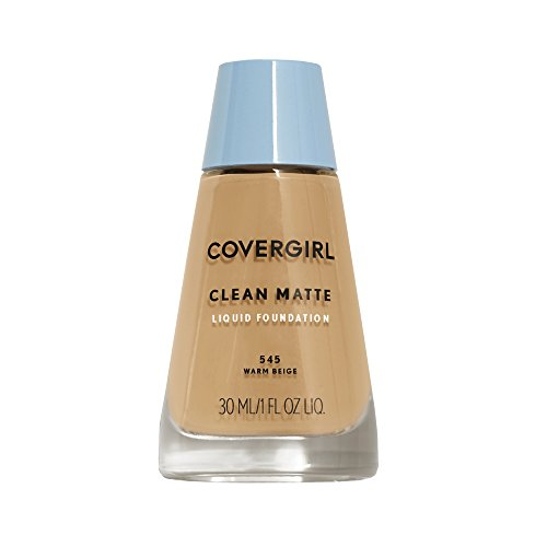 Warm Beige Foundation - COVERGIRL Clean Matte Liquid Foundation Warm Beige 545, 1 oz (packaging may vary)