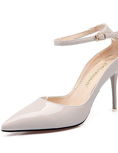 LFNLYX Zapatos de mujer-Tacón Stiletto-Tacones / Puntiagudos / Punta Cerrada-Sandalias-Vestido-Semicuero-Negro / Amarillo / Rosa / Rojo / Gris Pink