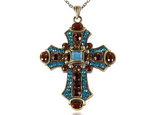 (Vintage Blue Topaz Crystal Rhinestone Accent Holy Cross Pendant Necklace Jewelry)