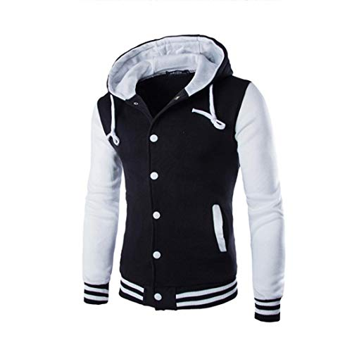 Men Coat Jacket Outwear Sweater, Stylish Color Contrast Long Sleeves Hoodie Varsity Jacket (White, M) by HTHJSCO
