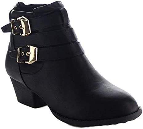 TOP Moda Women's Buckle Straps Stacked Low Heel Ankle Booties, TS Cl-14 Black Size 5