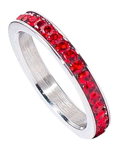 Birthstone Eternity Ring~July~Stainless Steel~Cubic Zirconia CZ Band~Ruby~Red Crystals~Stackable~Mother's Ring~Children's Ring~Women's Jewelry (11) ()