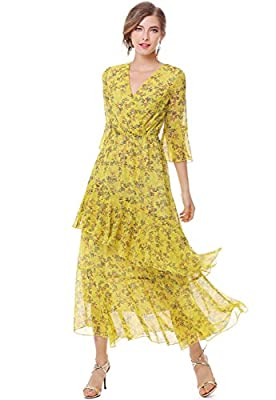 XINUO Womens Dresses Yellow Floral Maxi Dress V Neck High Waist Chiffon Beach Summer Party Casual Long Dresses