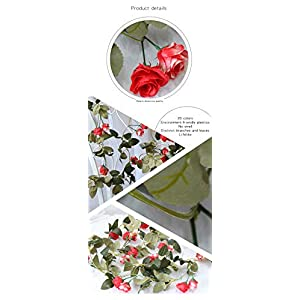 Flojery 2PCS/10.82FT Artificial Rose Flowers Fake Flower Garland Ivy Vine Green Leaves Home Wedding Garden Party Floral Decor 5