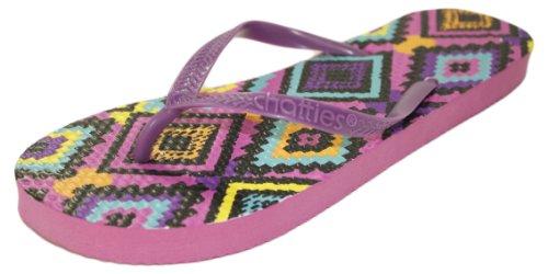Neon Tribal Print Two Tone Flip Flop Sandalen Roze / Paars