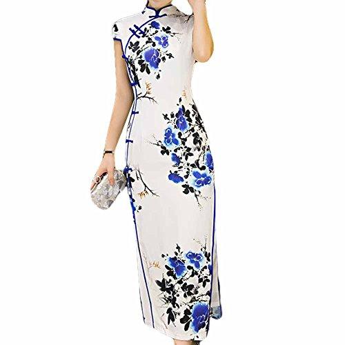 Kleid Kragen Kleid und Mandarine Chinesisches weiß Cheongsam Traditionelles Blancho Qipao Blau qZX5xP