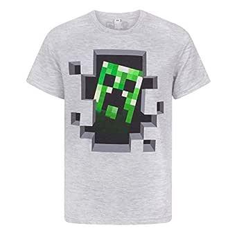 Official Minecraft Creeper Boy's Grey T-Shirt, Grey, 7-8 Years