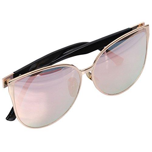 de SODIAL capitulo la de ojo de oro Oro Gafas gran Verano neutra amp; Blue del gato UV400 de tamano gafas Estilo del vendimia sol moda grande de sol la espejo rosa S16080 Httraq