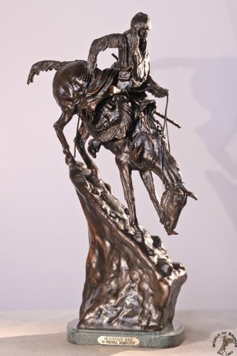- Frederic Remington Solid American Bronze Mountain Man Statue Sculpture - Medium Size