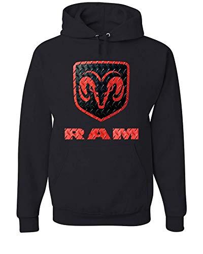 Dodge Ram Logo Hoody with red Diamond Plate Sweatshirt (Front Print), Black, L