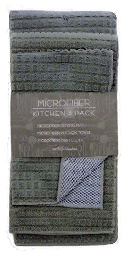 Microfiber Kitchen 3-Piece Set (Drying Mat, Kitchen Towel, & Dish Cloth) (Grey)