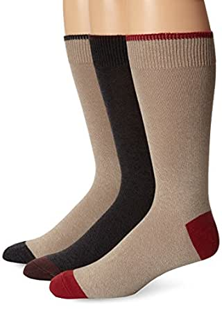 Dockers Men's 3 Pack Classics Metro Crew Socks, Khaki with Charcoal Marl/Charcoal with Brown Marl/Khaki with Rust, Sock Size:10-13/Shoe Size: 6-12