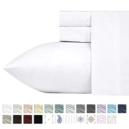 400-Thread-Count 100% Cotton Sheet Pure White Queen-Sheets Set, 4-Piece Long-staple Combed Cotton Best-Bedding Sheets For Bed, Breathable, Soft & Silky Sateen Weave Fits Mattress Upto 18'' Deep Pocket ()