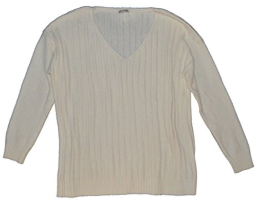 Gap V-neck Sweater - GAP Womens Ivory Big Cozy Ribbed V-Neck Pullover Wool Blend Sweater XL