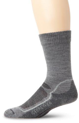 Lite Oil - Icebreaker Men's Hike+ Lite Crew Socks (Twister/Silver/Oil, Large)