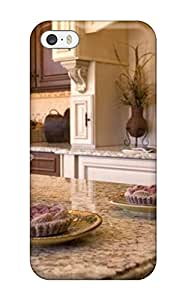 Fashion Protective Marble Island Top In A Neutral Color Kitchen With Glass Cabinets Case Cover For Iphone 5/5s