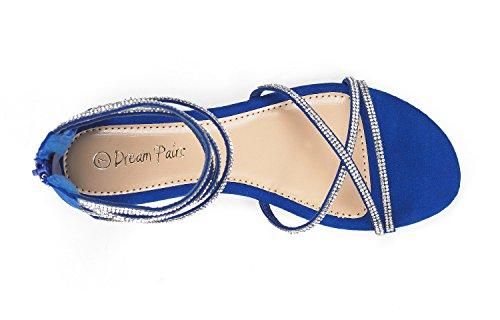 Paio Di Scarpe Da Donna Weitz Cinturino Alla Caviglia Con Strass Sandali Con Zeppa Blu Royal