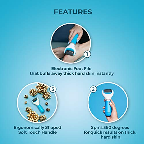 Amope Pedi Perfect Electronic Dry Foot File (Blue/Pink), Regular Coarse Roller Head with Diamond Crystals for Feet…