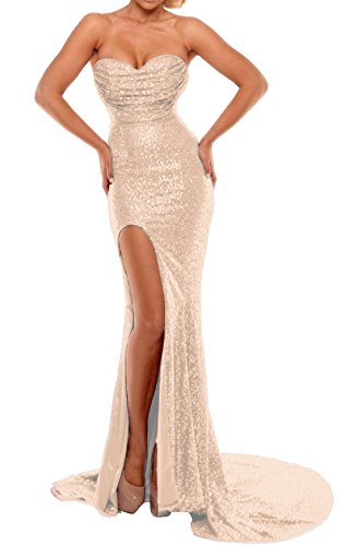 BEAUTBRIDE Women's Sexy Strapless Mermaid Evening Dress with Slit 2019 New Rose Gold B 2