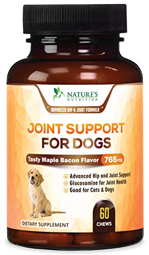 (Pet Joint Supplement For Dogs, Chewable Tablets 750mg - Advanced Hip and Joint with Glucosamine Chondroitin, MSM, Turmeric, Hyaluronic Acid, Calcium, Magnesium - Tasty Maple Bacon Flavor - 60 Chews)