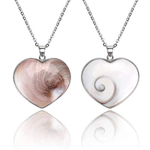- Heart Shiva Third Eye Pendant Necklace Natural Shell Reversible Jewelry Charms for Women Man