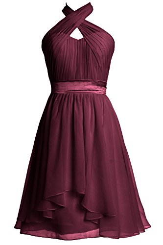 Formal Dress Chiffon Halter Gown Cocktail Party Women Bridesmaid MACloth Weinrot Short wxgASaqg6