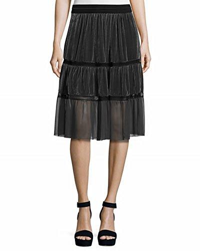 Audra Skirt, Coal, Small (Rayon Velvet Skirt)