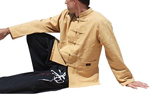 Raan Pah Muang Warm Cotton Professional Chinese Mandarin Jacket Shirt, Small, Fawn Brown