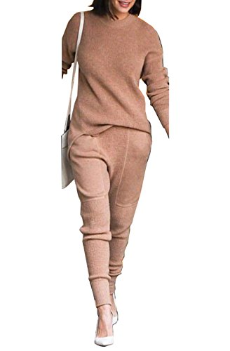 FOXRED Womens Solid Color Slim Fit 2 Pieces Knit Sweaters Pantsuit Outfits 2 Piece Knit Outfit