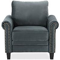 Pearington Herrin Chair with Nail Head Microfiber, Grey