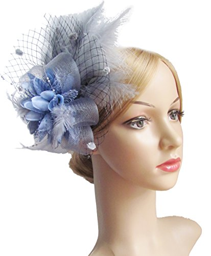 Kathyclassic Women's Fascinators Hat Hair Clip Feather Wedding Headware Bridal 1920s Headpiece (Grey) - Bridal Womens Hat