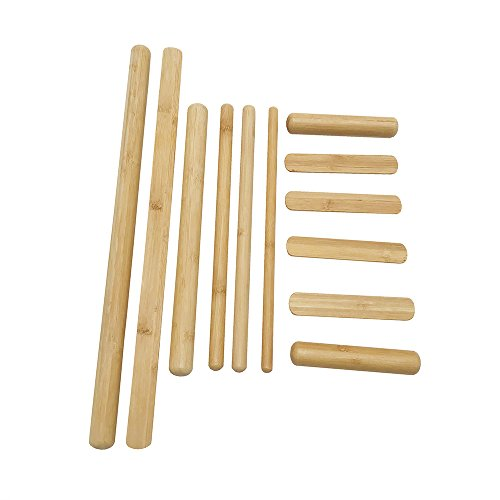 Goodtar Bamboo Massage Tools Green Therapy Kit of 100% Solid Bamboo Sticks to Full Body Massage and Reduce Deep Seated Pain,Set of 12