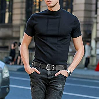MUCO Cinturón de cuero negro marrón Hombres Hebilla Durable Cuero Cinturón  Conveniente para los pantalones vaqueros e3945d6cc16e