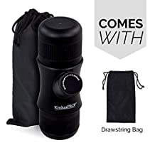 KitchenPRO Mini Portable Handheld Espresso Coffee Maker with Carrying Bag-Portable for Home,Office,Travel,Outdoor,BLACK