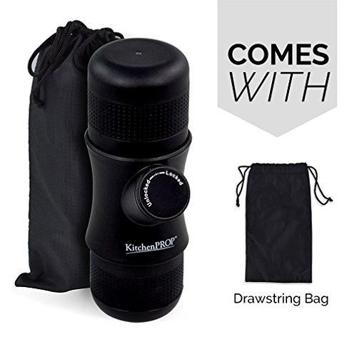 Minipresso KitchenPROP Mini Portable Handheld Espresso Coffee Maker with Carrying Bag-Portable for Home,Office,Travel,Outdoor,BLACK
