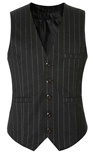UK Black Stripe Jacket Vest V Blazer Neck Mens Waistcoat today ApTvqwgPw