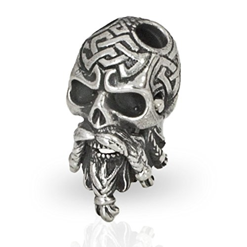 Cool Paracord Bead Celtic Bearded Skull for Custom EDC Bracelet Keychain or Knife Lanyard from Unique Handmade Arts & Crafts